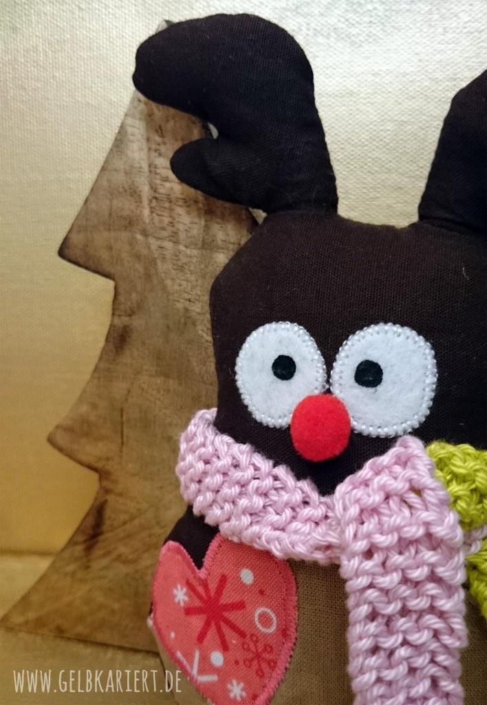 Mini-Rentier nähen | Rentier nähen | Nähen für Weihnachten | Nähideen | DIY Anleitung mit Vorlage | Tiere nähen | Weihnachtsdeko | Gelbkariert Blog