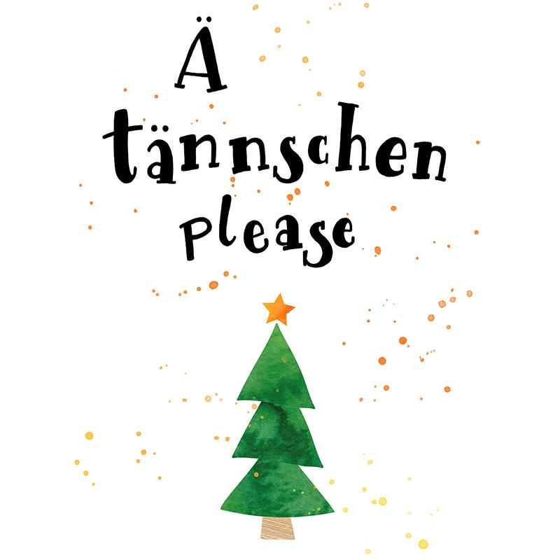 Weihnachts-Handlettering als Free Printable, Gelbkariert Blog, Ä Tännschen please