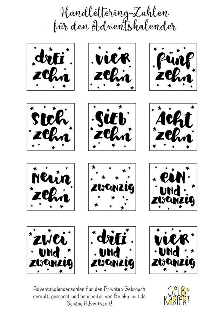 Handlettering Adventskalenderzahlen, schwarz weiß, Adventskalender basteln, Adventskalender selber machen, Zahlen für den Adventskalender, Lettering, Gelbkariert Blog