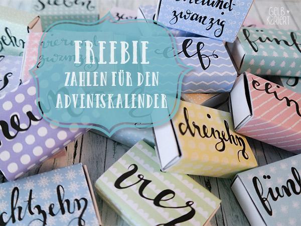 Freebie: Handlettering Adventskalenderzahlen|Gelbkariert