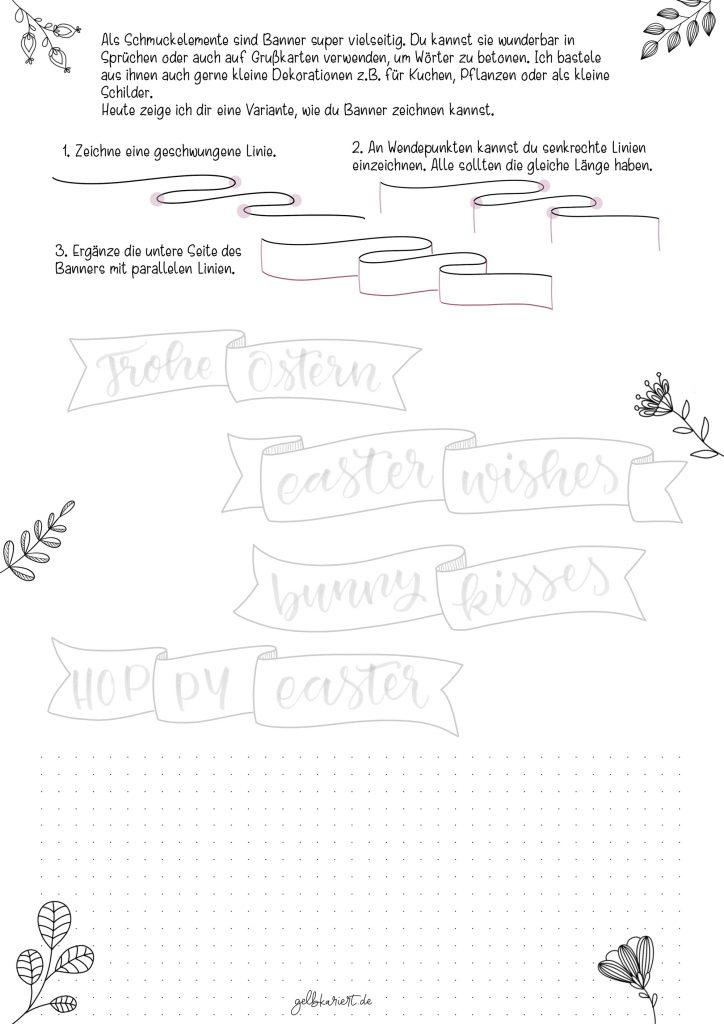 Kreative Auszeit, Handlettering Übungen und Ausmalbilder zum Download und Ausdrucken, Handlettering für Anfänger, Lettering Printables, kostenlose Handlettering Übungen, Banner malen, Gelbkariert