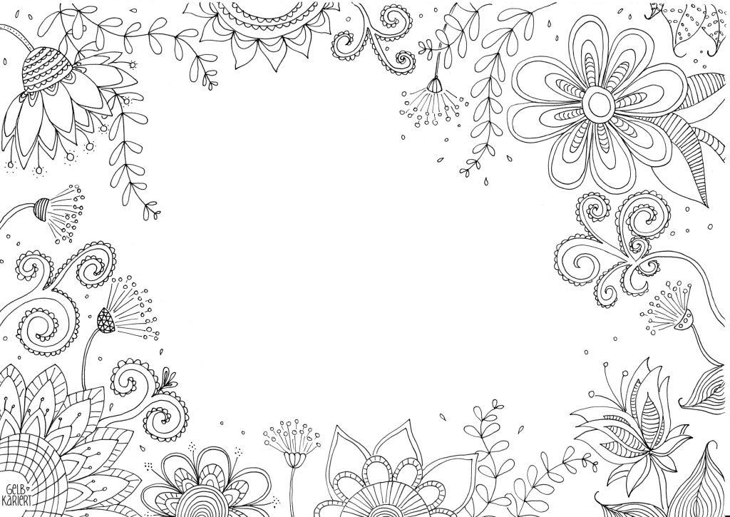 Frühlings-Printable Handlettering und Doodle, Blanko, Gelbkariert
