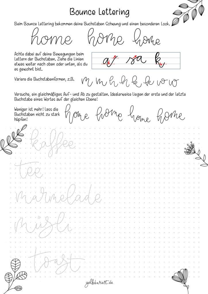 Kreative Auszeit, Handlettering Übungen und Ausmalbilder zum Download und Ausdrucken, Handlettering für Anfänger, Lettering Printables, kostenlose Handlettering Übungen, Bounce Lettering, Gelbkariert