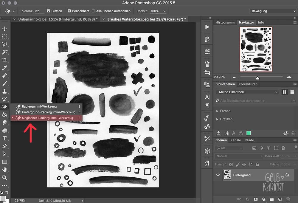 Anleitung: Brushes/ Pinsel mit Aquarellfarbe malen, scannen und in Photoshop digitalisieren, Tutorial, Photoshop Brushes, Pinsel erstellen, Lettering, To Do Liste, Freebie, Printable, but first coffee, Gelbkariert Blog