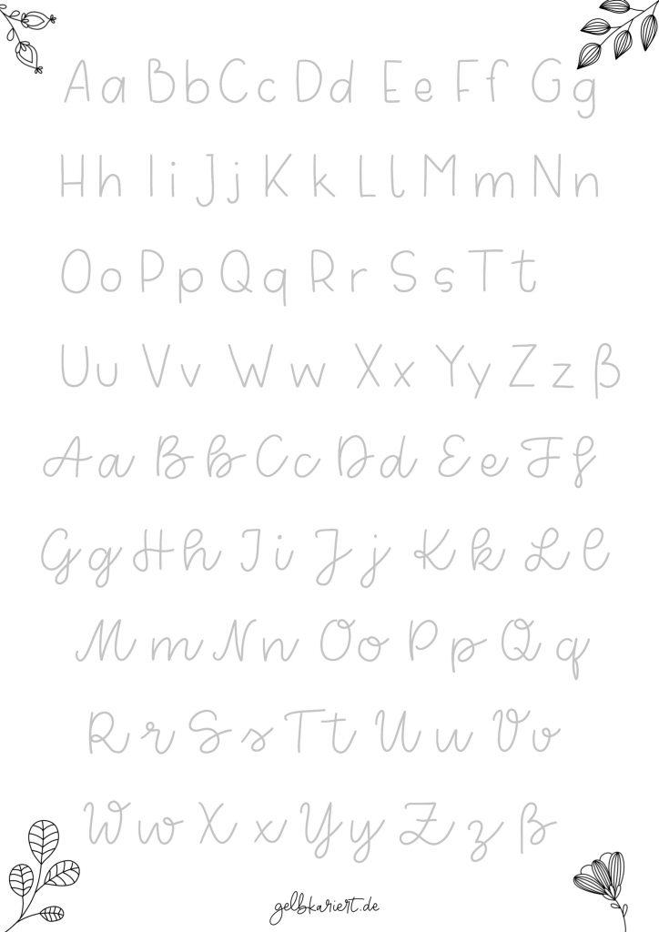 Kreative Auszeit, Handlettering Übungen und Ausmalbilder zum Download und Ausdrucken, Handlettering für Anfänger, Lettering Printables, kostenlose Handlettering Übungen, Buchstaben lettern, Gelbkariert