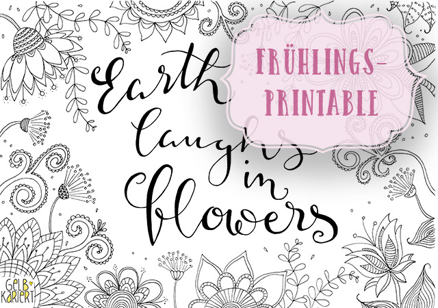 Frühlings-Printable|Doodle and Handlettering|Freebie|Gelbkariert