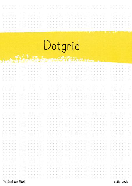 Freebie Dotgrid Handlettering Übungsblatt zum Ausdrucken, Gelbkariert Blog