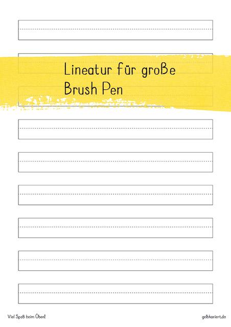 Freebie Lineatur für Brush Pen, Handlettering Übungsblatt zum Ausdrucken, Gelbkariert Blog
