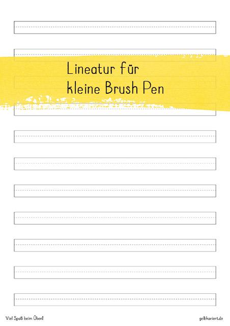 Freebie Lineatur für kleine Brush Pen, Handlettering Übungsblatt zum Ausdrucken, Gelbkariert Blog