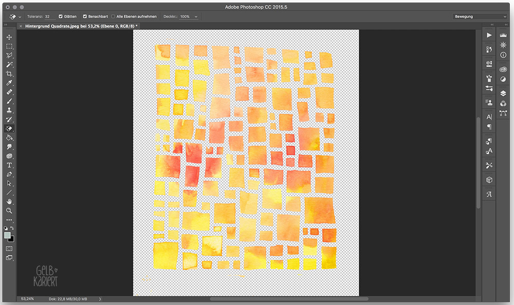 Anleitung: Hintergrund mit Aquarellfarbe und Rubbelkrepp für ein Handlettering malen, scannen und in Photoshop digitalisieren, Tutorial, Handlettering, Lettering, Bild freistellen, Gelbkariert Blog