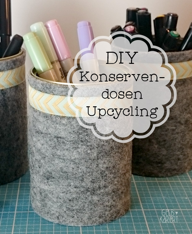 diy konservendosen upcycling gelbkariert. Black Bedroom Furniture Sets. Home Design Ideas