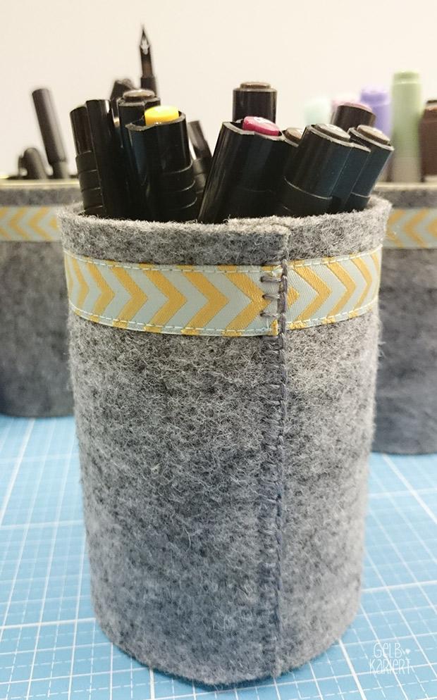DIY Konservendosen Upcycling: Utensilo für Stifte aus Filz nähen | Nähidee | Langettenstich | Filz | Upcycling | Einfache Bastelidee | Anleitung | Gelbkariert