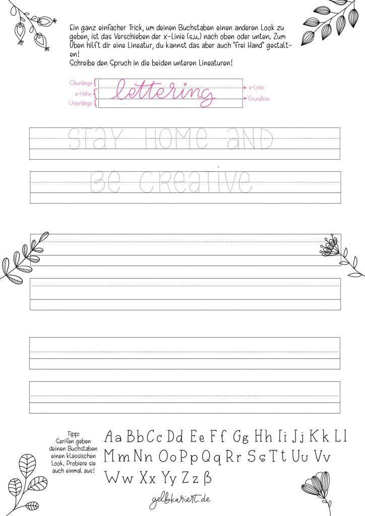 Kreative Auszeit, Handlettering Übungen und Ausmalbilder zum Download und Ausdrucken, Handlettering für Anfänger, Lettering Printables, kostenlose Handlettering Übungen, Schriften variieren beim Handlettering, Gelbkariert