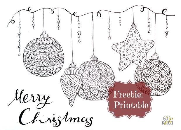 Doodle Merry Christmas, Ausmalen für Erwachsene, Gelbkariert Blog