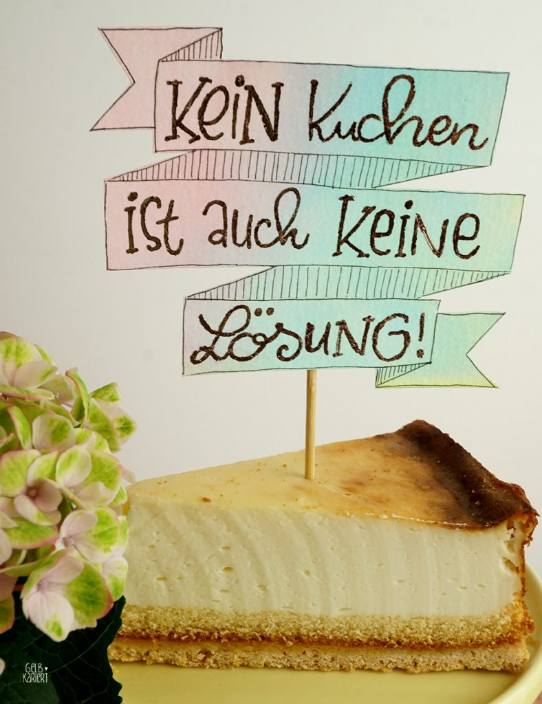 DIY - Anleitung Handlettering, Transferfolie im Metallic-Look, Banner malen, Banner mit Aquarellhintergrund, Banner mit Metallicfolie, Folieren mit Klebestift, Metallicfolie, Lettering, Kuchenliebe, Kuchentopper, Lettering für Tortendekoration, Caketopper mit Metalliceffekt, Aquarellieren mit Brush Pen, Metallic Handlettering, Gelbkariert Handlettering Blog