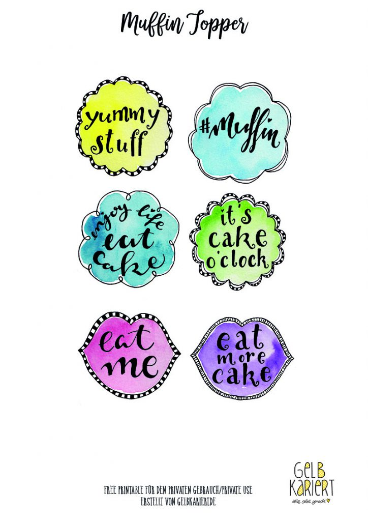 Muffin Topper, Handlettering und Watercolor, Ausdrucken, Download, Gelbkariert Blog