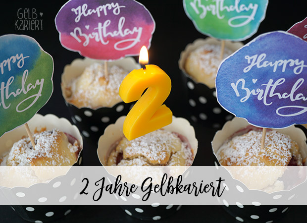 Muffin Topper|Free Printable|Freebie|Kuchen|Happy Birthday|Bloggeburtstag|Muffin Dekoration|Handlettering|Gelbkariert Blog
