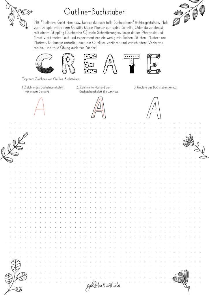 Kreative Auszeit, Handlettering Übungen und Ausmalbilder zum Download und Ausdrucken, Handlettering für Anfänger, Lettering Printables, kostenlose Handlettering Übungen, Outline Buchstaben, Gelbkariert