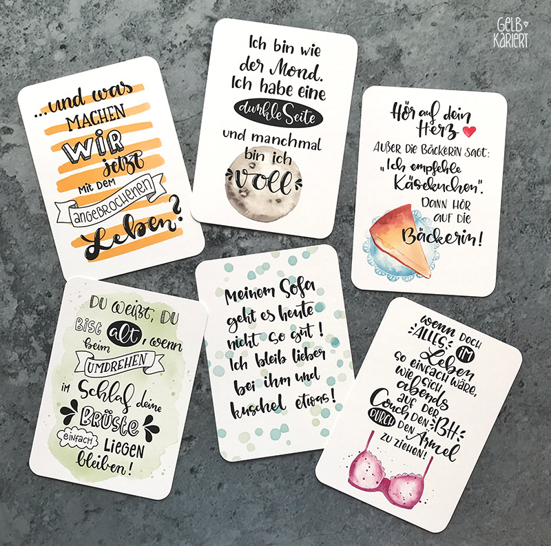 Handlettering Postkarten für Edition Gollong, lustige Sprüche