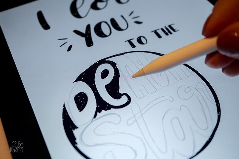 Anleitung Procreate, Lettering mit dem IPad Pro und Procreate, Tutorial für Anfänger, Radieren, Handlettering digital, Freebie, Printable