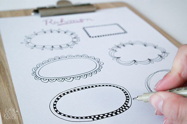 Freebie: Printable Rahmen für Handlettering | Lettering | Ideen | Fineliner | Gelbkariert