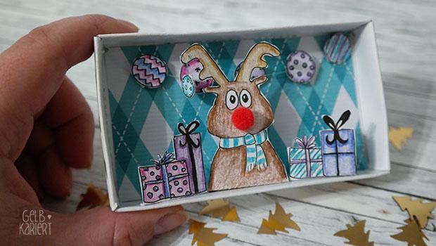 Basteln für Weihnachten: Weihnachtsgrüße aus der Schachtel | Bastelideen | Streichholzschachtel | Weihnachten | DIY Anleitung | Gelbkariert