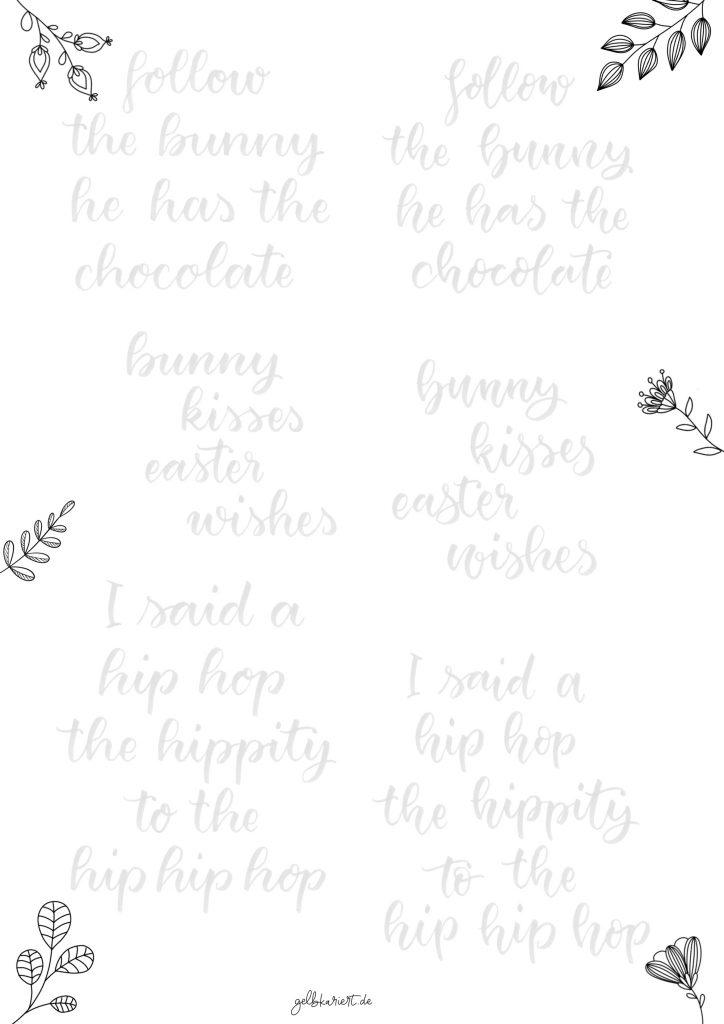 Kreative Auszeit, Handlettering Übungen und Ausmalbilder zum Download und Ausdrucken, Handlettering für Anfänger, Lettering Printables, kostenlose Handlettering Übungen, Bounce Lettering, Brushlettering, Gelbkariert