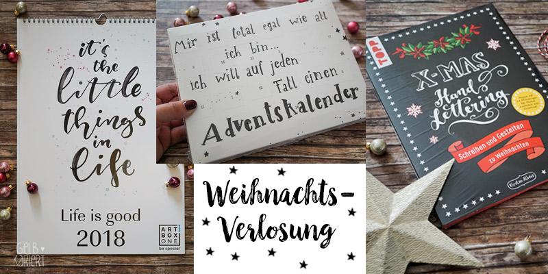 Weihnachts-Verlosung Handlettering Adventskalender, Wandkalender und XMAS Handlettering Mappe vom Frechverlag