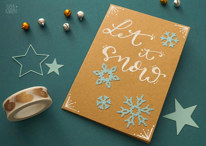 Weihnachtskarten mit Handlettering im Faux Calligraphy Stil gestalten für Anfänger, Gelbkariert