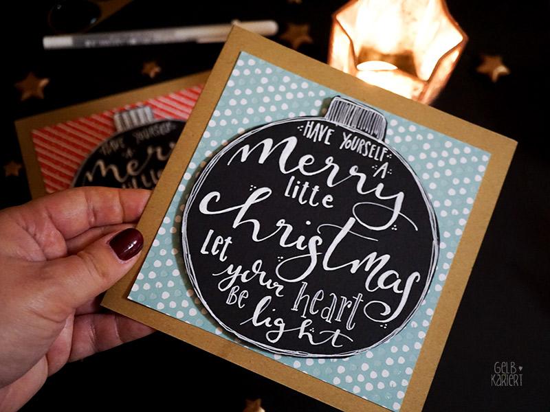 handlettering weihnachtskarten basteln gelbkariert