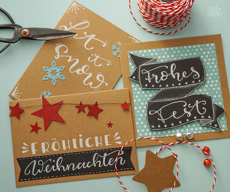 weihnachtskarten mit faux calligraphy gestalten gelbkariert. Black Bedroom Furniture Sets. Home Design Ideas