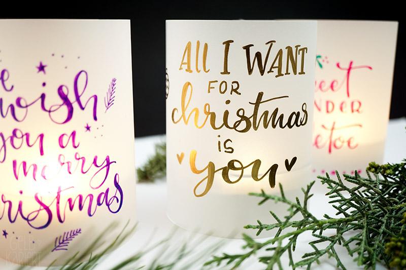 Windlichter lettern, Metallic Lettering, Molotow Liquid Chrome, Pentel Hybrid Dual Metallic, Sakura Pen touch, Windlichter mit Transparentpapier basteln, DIY, Handlettering, Lettering, Ideen Lettering, XMAS-Lettering, Lettering Anfänger, Handlettering lernen, Falsche Kalligrafie, Faux Calligraphy, Weihnachten DIY, Lettern für Anfänger, Gelbkariert Blog