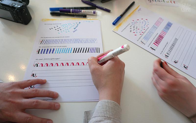 Handlettering-Workshop mit Gelbkariert, Lettering lernen, Handlettering für Anfänger, Gelbkariert Blog