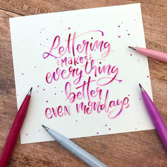 Bounce Lettering, Brush Pens Blending, Blending Workshop, Pentel Brush Pen, Handlettering Workshops für Anfänger und Fortgeschrittene im Ruhrgebiet, Lettering Workshops Herne, Kunstpark Herne, Gelbkariert