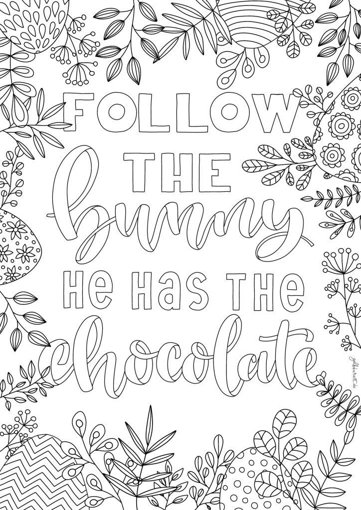 Kreative Auszeit, Handlettering Übungen und Ausmalbilder zum Download und Ausdrucken, Handlettering für Anfänger, Lettering Printables, kostenlose Handlettering Übungen, Follow the bunny he has the chocolate, Ausmalen für Erwachsene, Gelbkariert