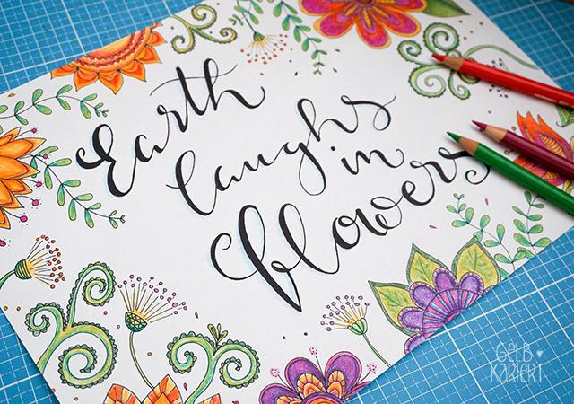 Frühlings - Printable | Doodle and Handlettering | Freebie | Ausmalbild für Erwachsene | Entspannung | earth laughs in flowers | Gelbkariert