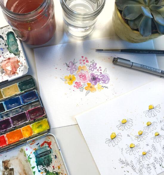 Floral Illustration, Fineliner plus Watercolor Botanicals, Watercolor Workshop im Kunstpark Herne, Watercolor Workshop Ruhrgebiet, Aquarell Workshop für Anfänger, Blumen und Sukkulenten Watercolor, Gelbkariert