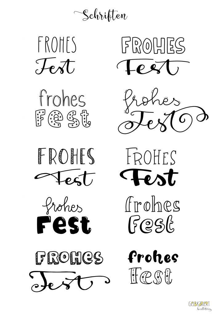 Weihnachtskarten mit Handlettering im Faux Calligraphy Stil gestalten für Anfänger, Beispiele für verschiedene Schriften, Gelbkariert