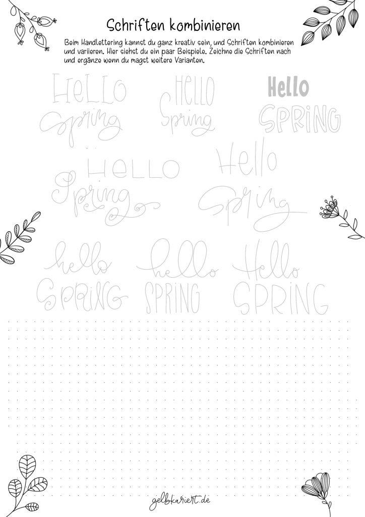 Kreative Auszeit, Handlettering Übungen und Ausmalbilder zum Download und Ausdrucken, Handlettering für Anfänger, Lettering Printables, kostenlose Handlettering Übungen, Schriftarten Lettering, Gelbkariert