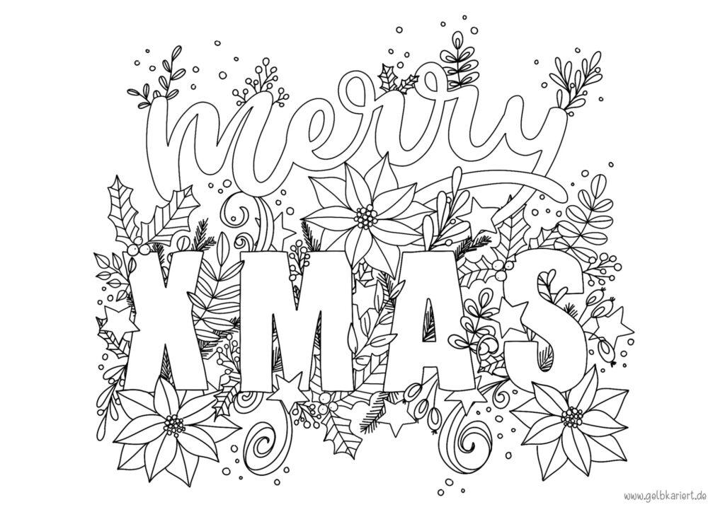 Ausmalbild Handlettering, Adventskalender, Weihnachten, Lettering, Ausmalen für Erwachsene,