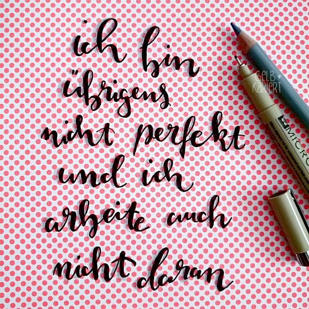 Faux Calligraphy | Fineliner | Handlettering | Schatten | Schatteneffekt mit Buntstiften | Ideen für Hand Lettering | Gelbkariert Blog
