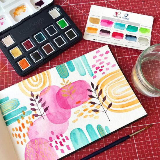 Relaxing abstrakt Watercolor, Watercolor Workshop im Kunstpark Herne, Watercolor Workshop Ruhrgebiet, Aquarell Workshop für Anfänger, Blumen und Sukkulenten Watercolor, Gelbkariert