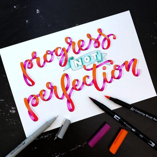 Brush Pens Blending, Blending Workshop, Ribbon Lettering, Handlettering Workshops für Anfänger und Fortgeschrittene im Ruhrgebiet, Lettering Workshops Herne, Kunstpark Herne, Gelbkariert