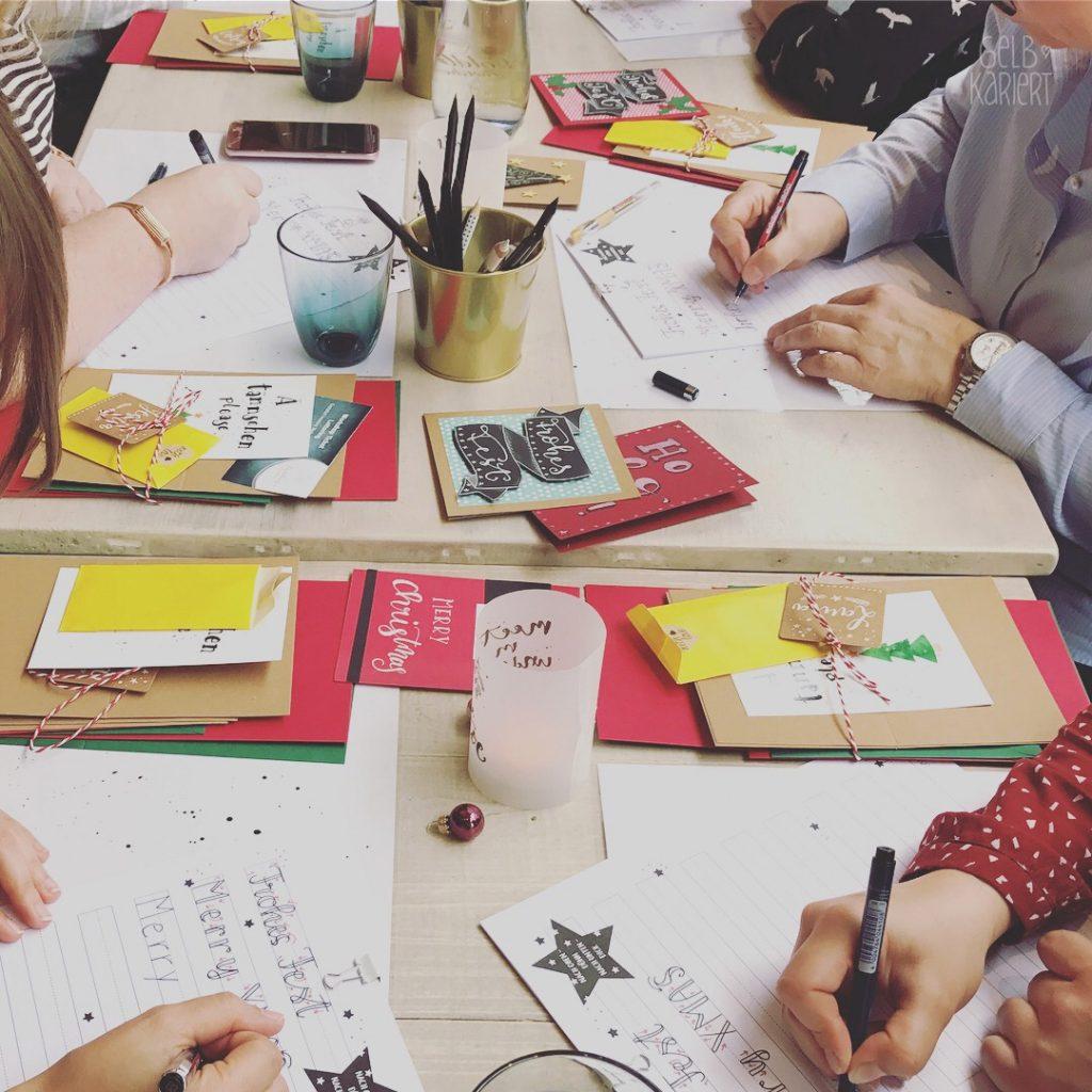 Workshop: Handlettering Weihnachtskarten im Goldbergs Törtchen