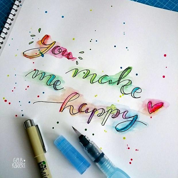 you make me happy |Handlettering mit Fineliner und Wasserfarbe | Watercolor | Pigma Micron | Ideen für Hand Lettering | Schreiben mit Aquarellfarbe | Anleitung | Gelbkariert Blog